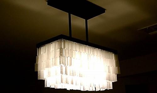 DIY chandelier made of wax paper