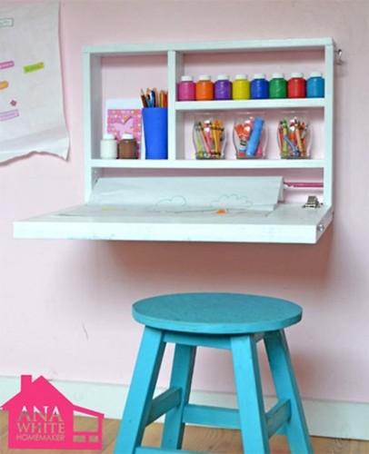 DIY flip down kid's desk