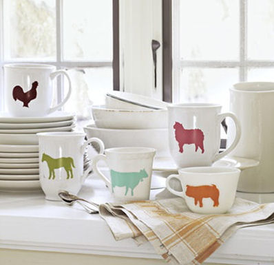 Stenciled animal mugs