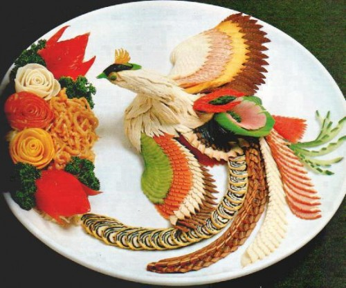 Pheasant made totally out of food.