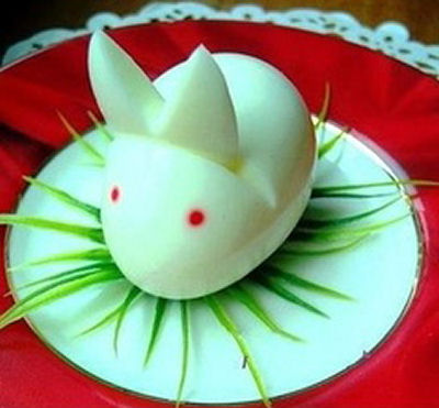 Adorable hard boiled egg bunny