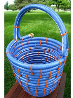 Basket made from an old hose.
