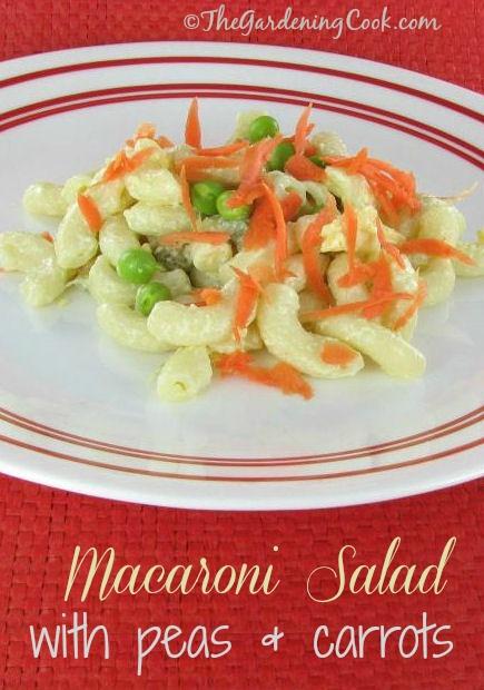 Macaroni Salad with fresh peas and carrots