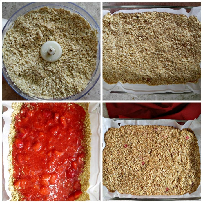 Making strawberry oatmeal bars