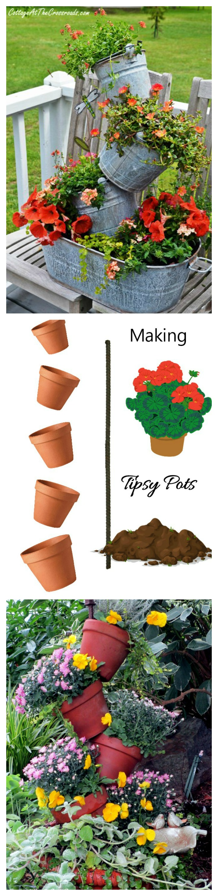 For a very creative gardening idea, try making topsy turvy planters.