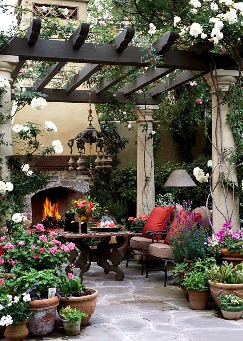 patio with potted plants