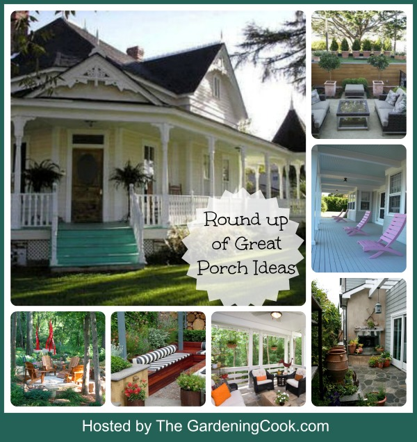 Round up of great porch ideas.