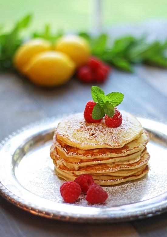 Lemon Ricotta pancakes with raspberries