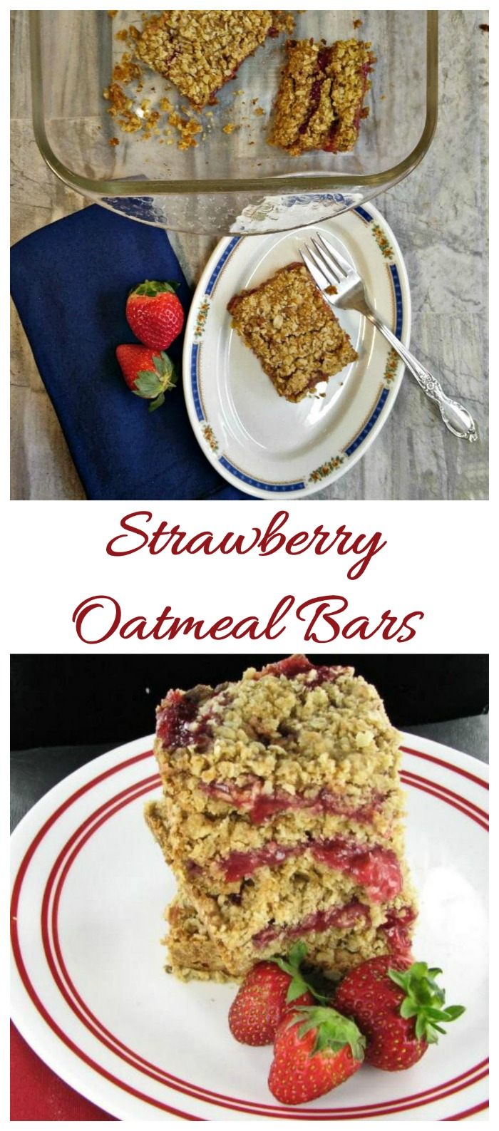 These fresh strawberry oatmeal bars have a buttery crust and topping and delicious sweet strawberry filling.