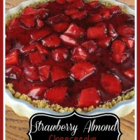 This strawberry almond cheesecake has a delicious glazed topping.