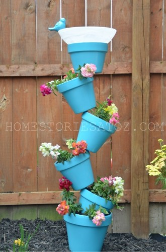 topsy turvy planter in blue