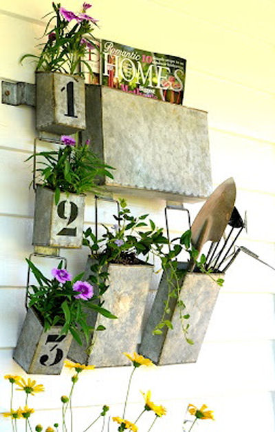 Galvanized wall pockets with house numbers