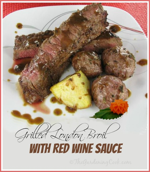 Grilled London Broil with Spicy Rub and Red Wine Sauce