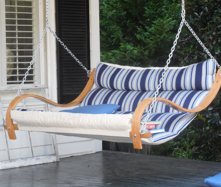 Blue and White Striped Porch swing. Love!