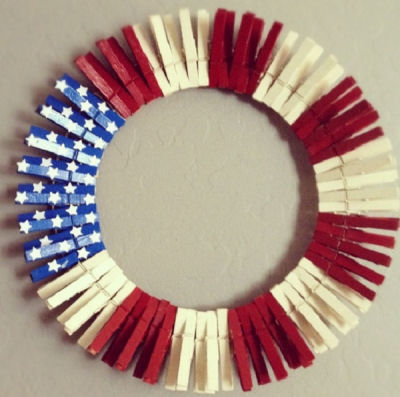 Fun Fourth of July Clothespin wreath in Red white and blue