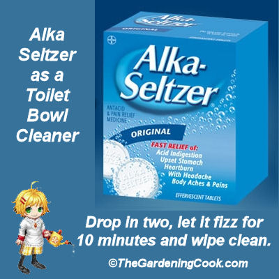 Alka Seltzer as a toilet bowl cleaner works in 10 minutes.