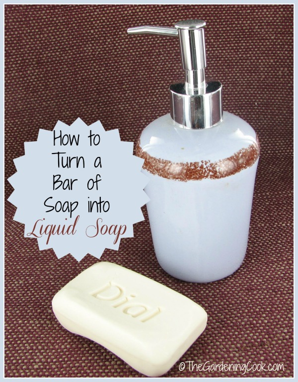 Make your own liquid soap from an ordinary bar of soap.