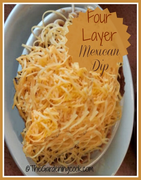 Super easy four layer Mexican dip. Ready in a flash and a big crowd pleaser!