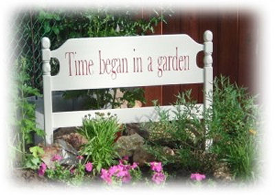 Time Began in a Garden sign made of a headboard