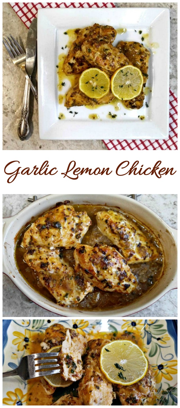 This garlic lemon chicken has an amazing sauce that is tart and savory. It's ready in about 30 minutes and is easy to prepare.