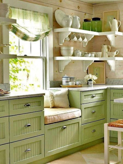 Cosy window seat in a kitchen
