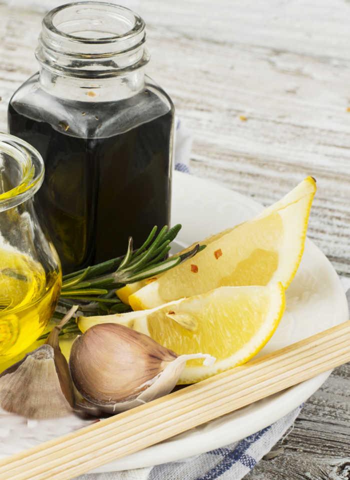 Lemon juice, garlic, onions and soy sauce.