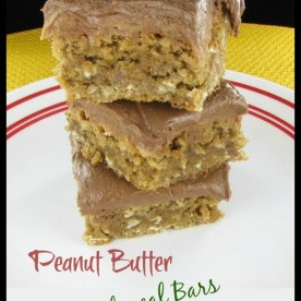 Peanut butter oatmeal bars with chocolate frosting.