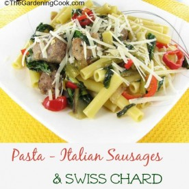 Ziti pasta with swiss chard, peppers and Italian sausages.
