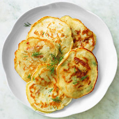 Dill Pancakes with ham and cheese