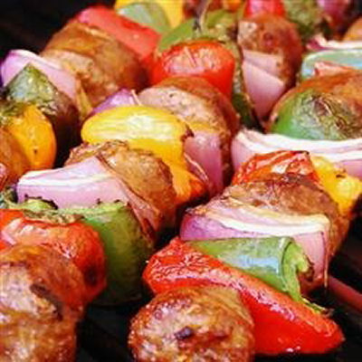 Italian Sausages Onion and Pepper Kebabs