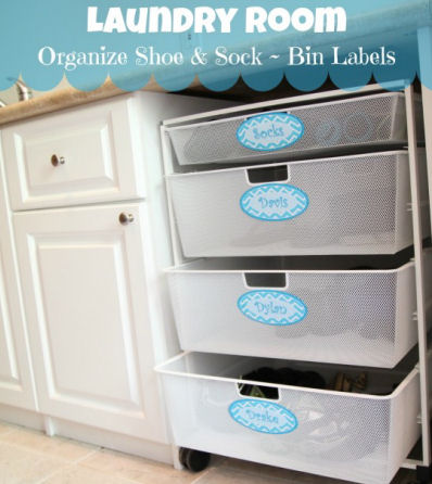 Organize your laundry room with bin labels.