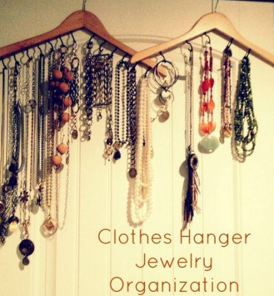 Wooden Clothes Hangers as Jewelry Organizers
