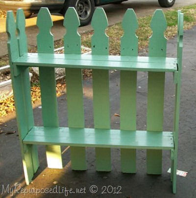 Reclaimed picket fence into a cute garden shelf from myrepurposedlife.net