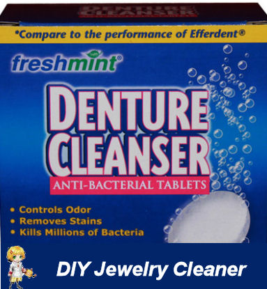 DIY Jewelry Cleaner with denture tablets.