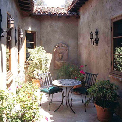 sheltered Cozy Courtyard with tons of atmosphere.
