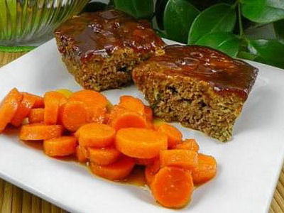 Mini Meat Loaves with Brown Sugar Glazed Carrots