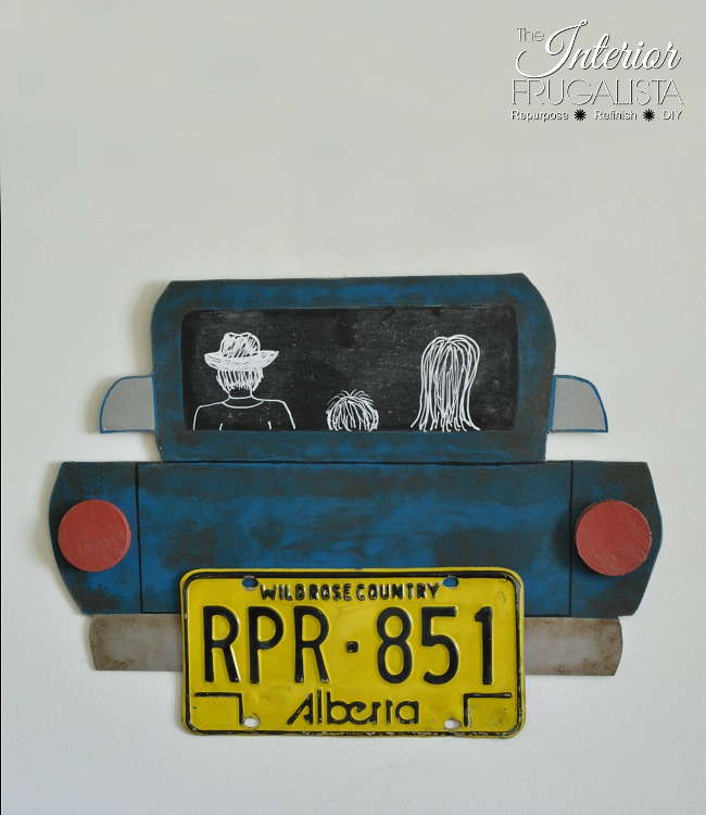 License plate wall art for a child's room.