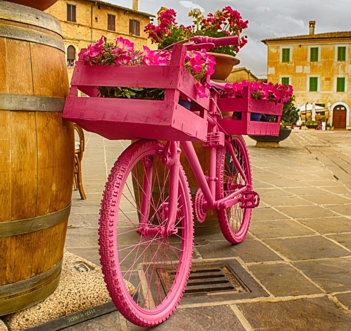 Bicycle Planter with pink crate basket