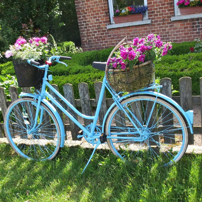 Baby Blue Bicycle Planter