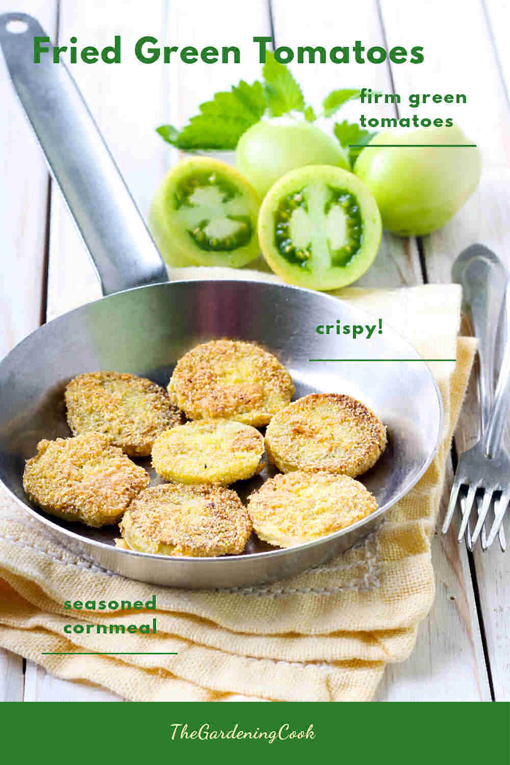Green tomatoes and tomato slices in a frying pan with words Fried Green Tomatoes.