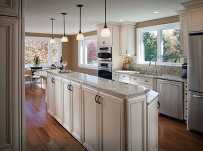 Great island and fabulous windows in this kitchen