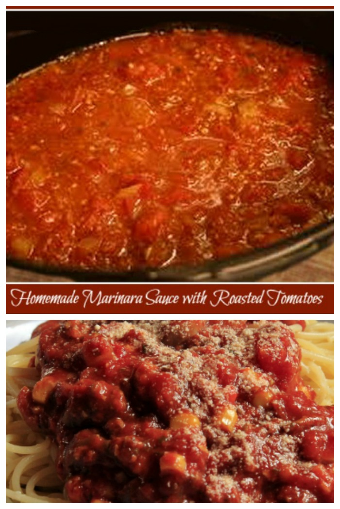 Home made marinara sauce with freshly roasted tomatoes gives you a taste that bottled sauces can't complete with.