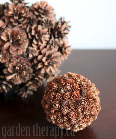 Pine cone spheres from gardentherapy.ca