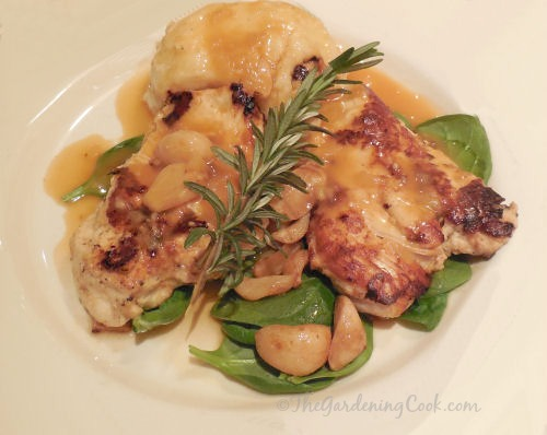Chicken breasts with mushrooms and roasted garlic.