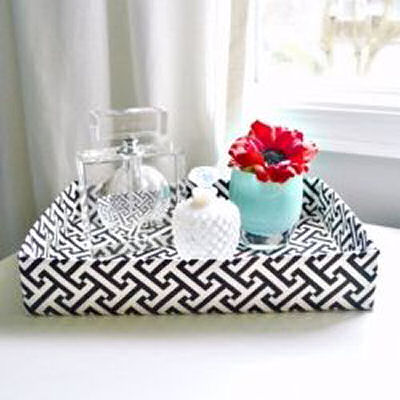 DIY black and white decorative tray from a recycled cardboard box - From Lilikoi Joy