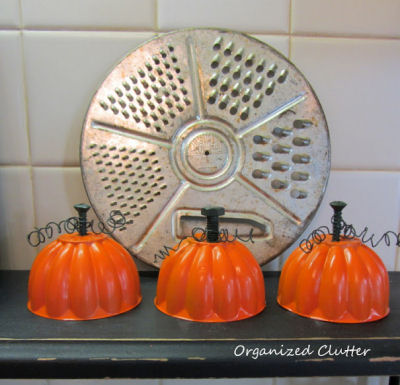 Cute Fall Trio made from Jello molds, bolts and a bit of wire. Perfect for fall! Idea from Organized Clutter