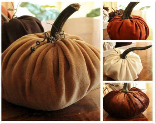 Fabric pumpkins that use the stalk of a real pumpkin.
