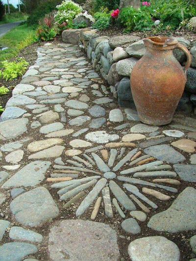 Carlingford- Templetown- The Breakers #1- Greek Garden- stone paving and terracotta pitcher