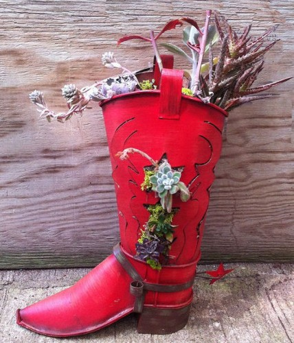 Red metal cowboy boot and succulents make a great Southwest look.