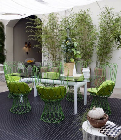 Lime green and white classic and modern out door patio